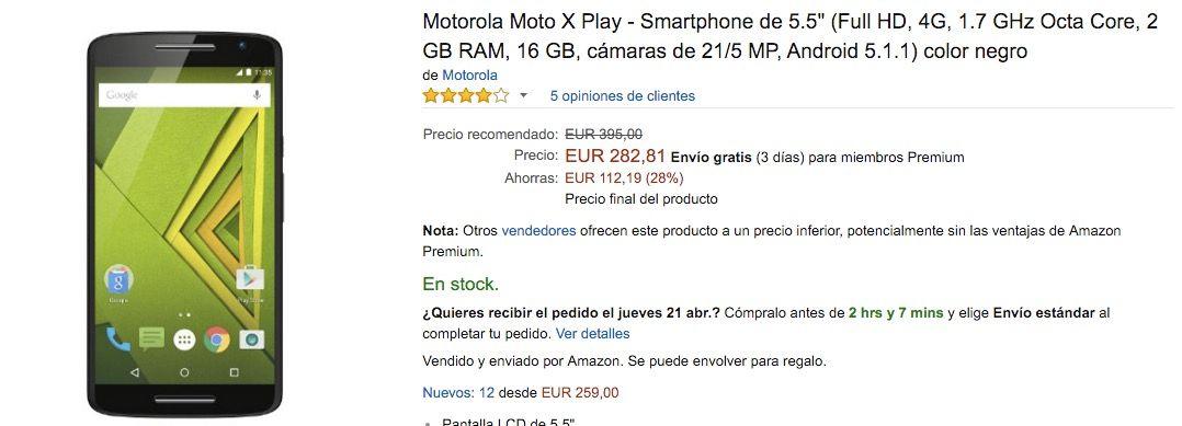 moto x play descuento