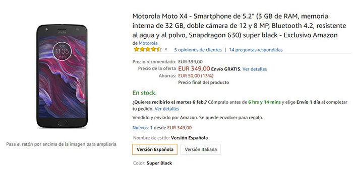moto x4 android one 50 euros menos