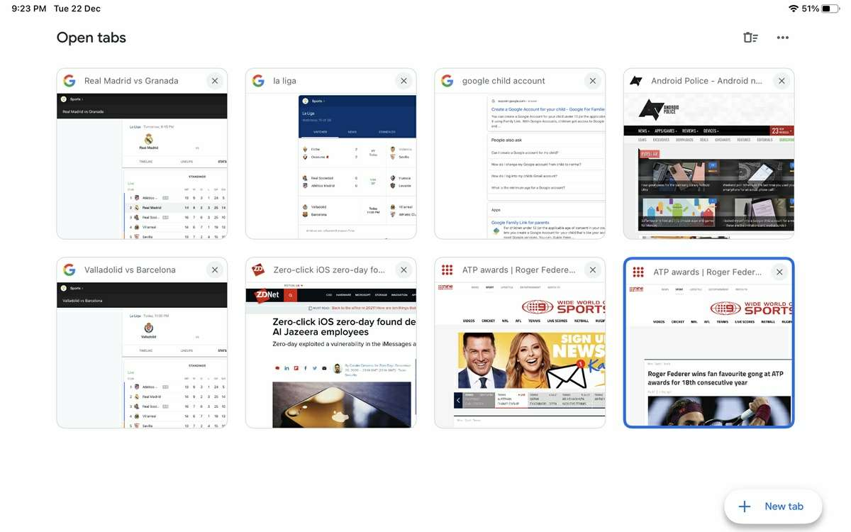 multiples pestanas en app de google para ios