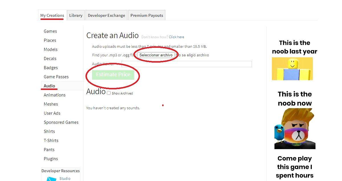 musica roblox subir desde PC