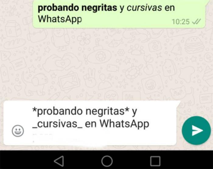negritas y cursivas en WhtasApp