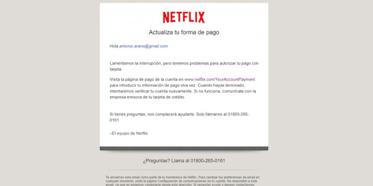 netflix correo estafa tarjeta de credito