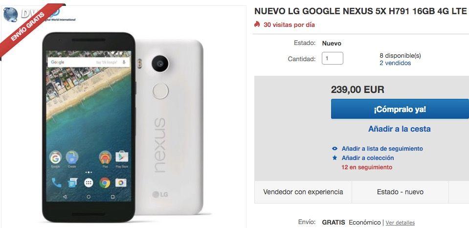 nexus 5x por 239 euros ebay