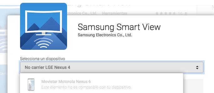 nexus 6 no compatible smart view samsung