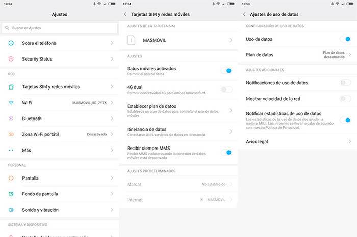 notificaciones de datos gastados en Xiaomi