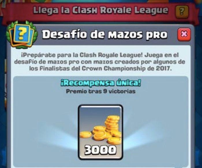 nuevo desafio de mazos Pro en Clash Royale