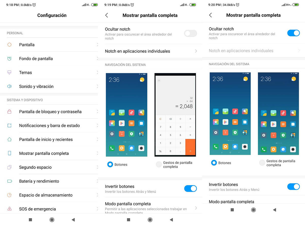 ocultar notch en el Redmi Note 7