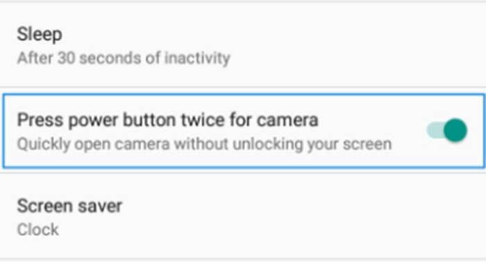 opcion de doble pulsacion para abrir la camara del Moto E4