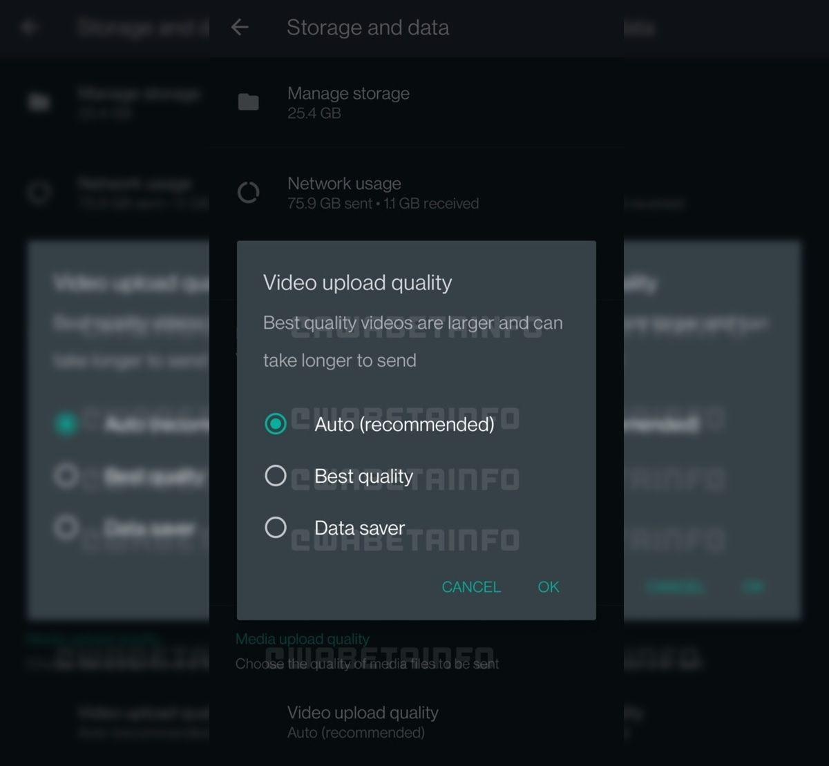 opcion para elegir calidad de video whatsapp