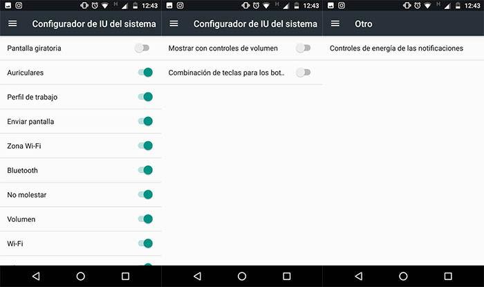 opciones de configurador IU del sistema