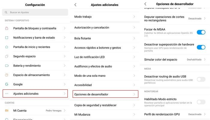 opciones de desarrollador ark mobile