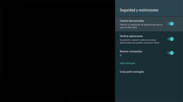 opciones de seguirdad en Android TV