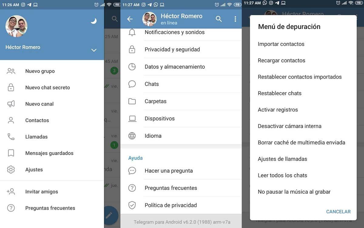 opciones desarrollador telegram