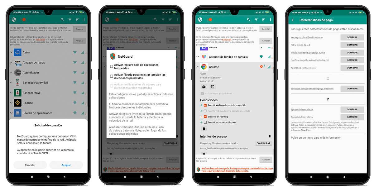 opciones seguridad netguard android