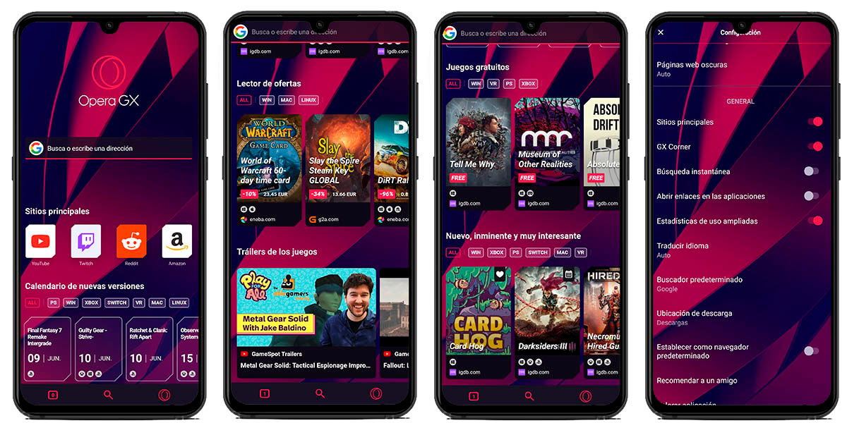 opera gx android interfaz
