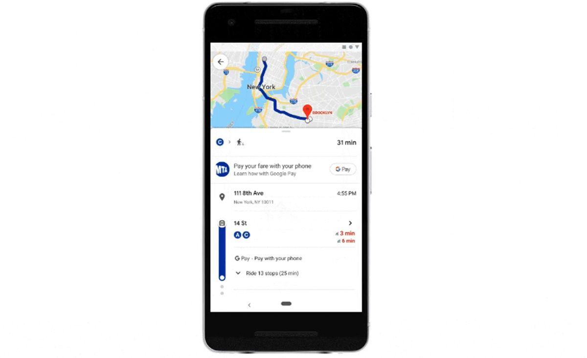 pagar billete de transporte por google maps