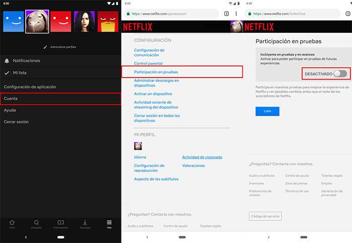 participacion en pruebas de Netflix