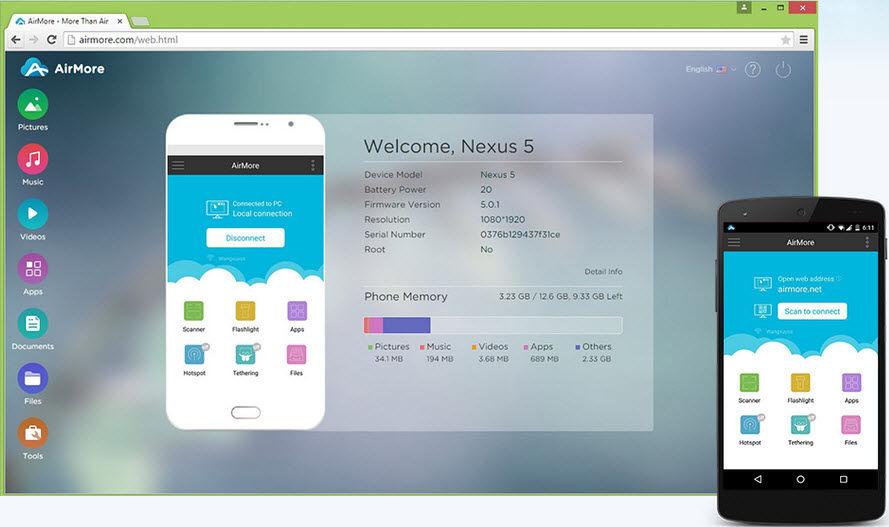 pasar archivos android a pc por wifi airmore1