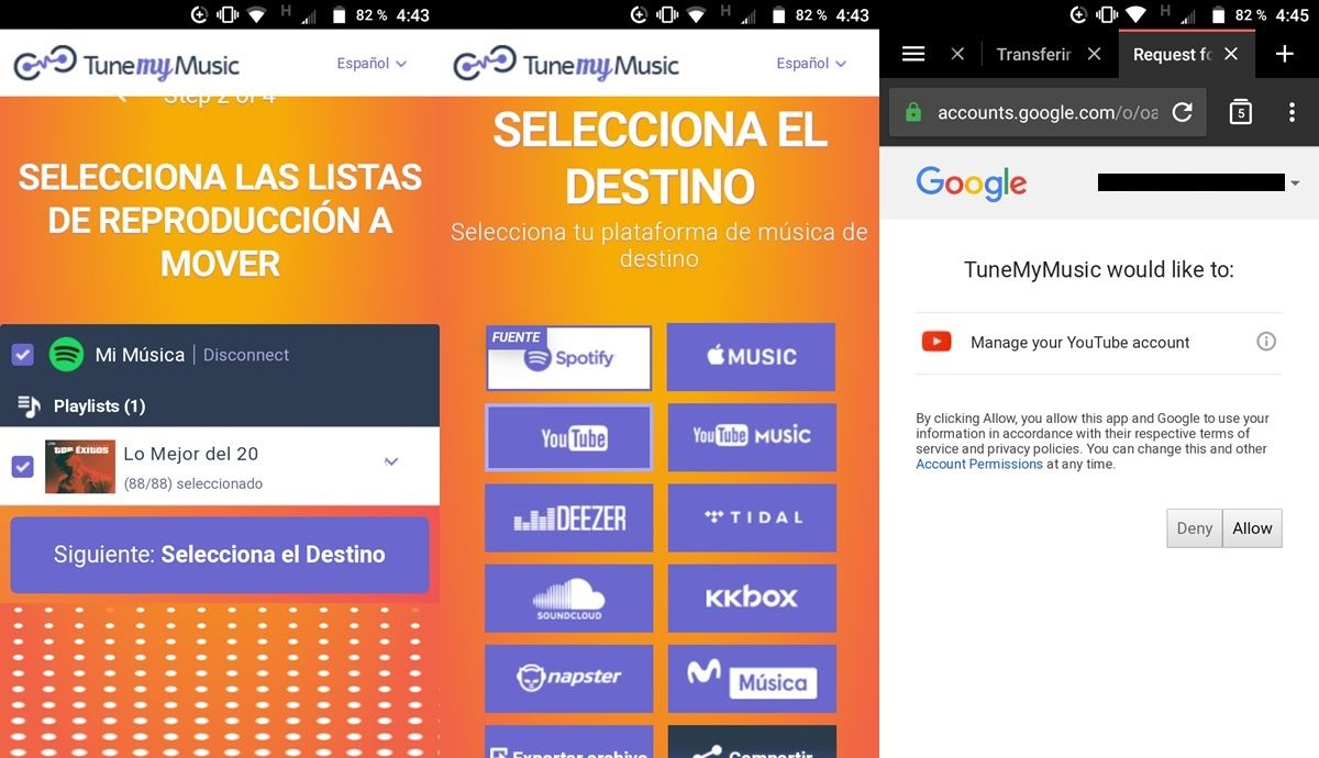 pasar listas de spotify a YouTube