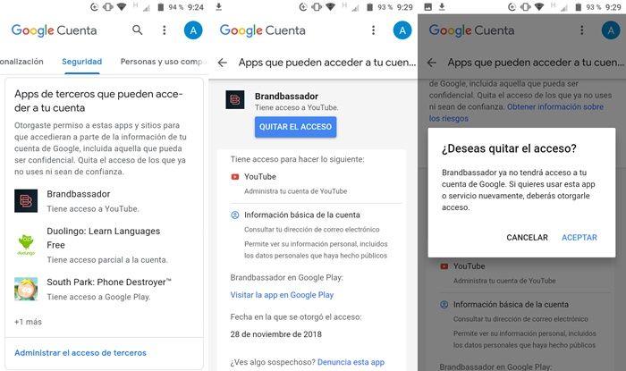 paso a paso para disvincular apps de tu cuenta de Google