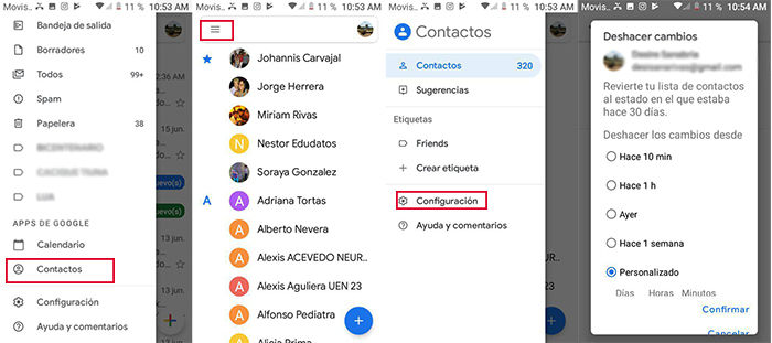 paso a paso recuperar contactos gmail