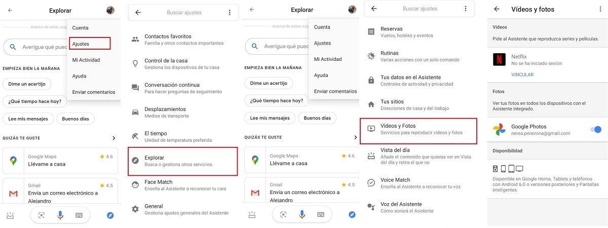 pasos configurar netflix disney+ google assistant