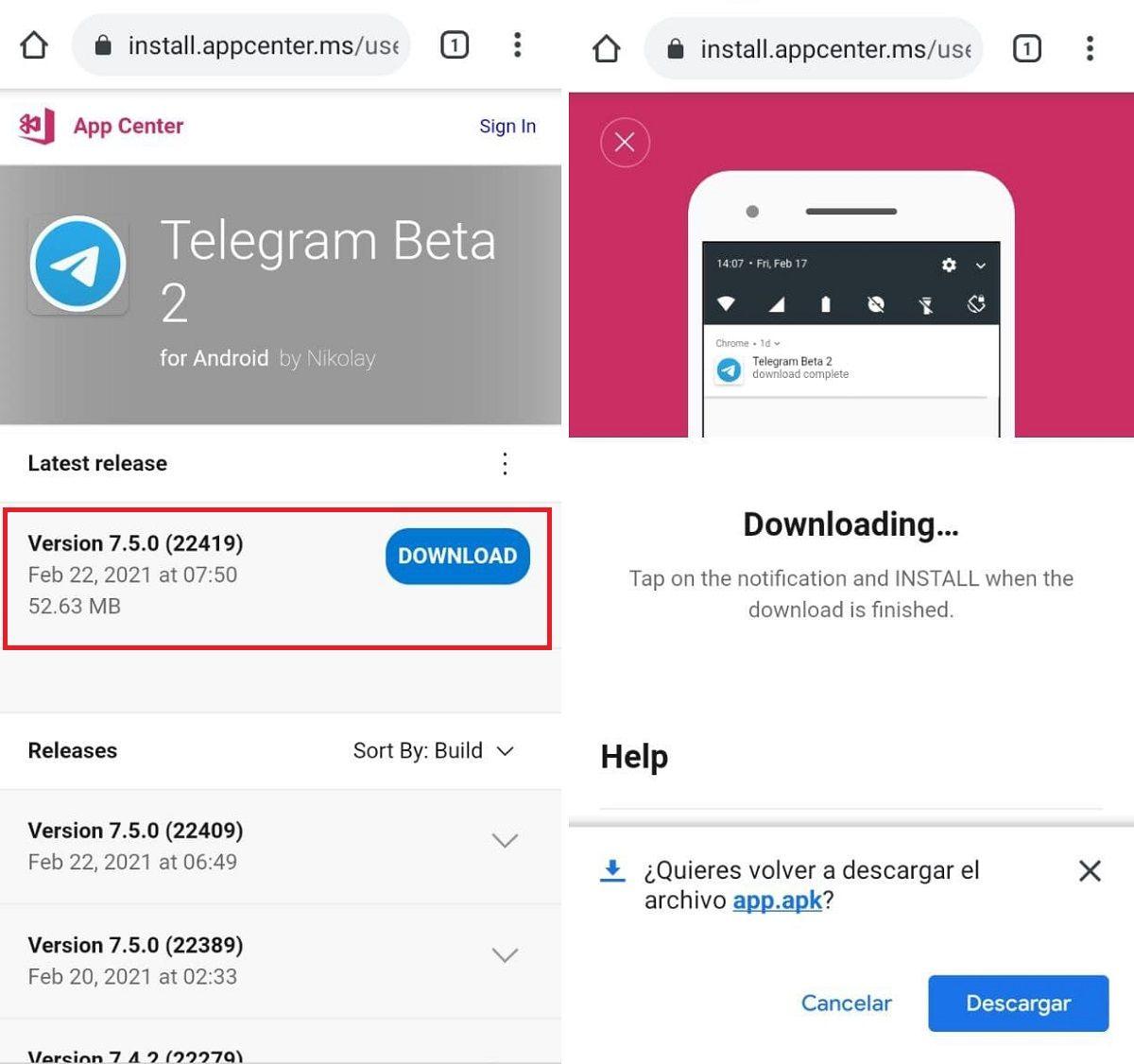 pasos descargar telegram beta