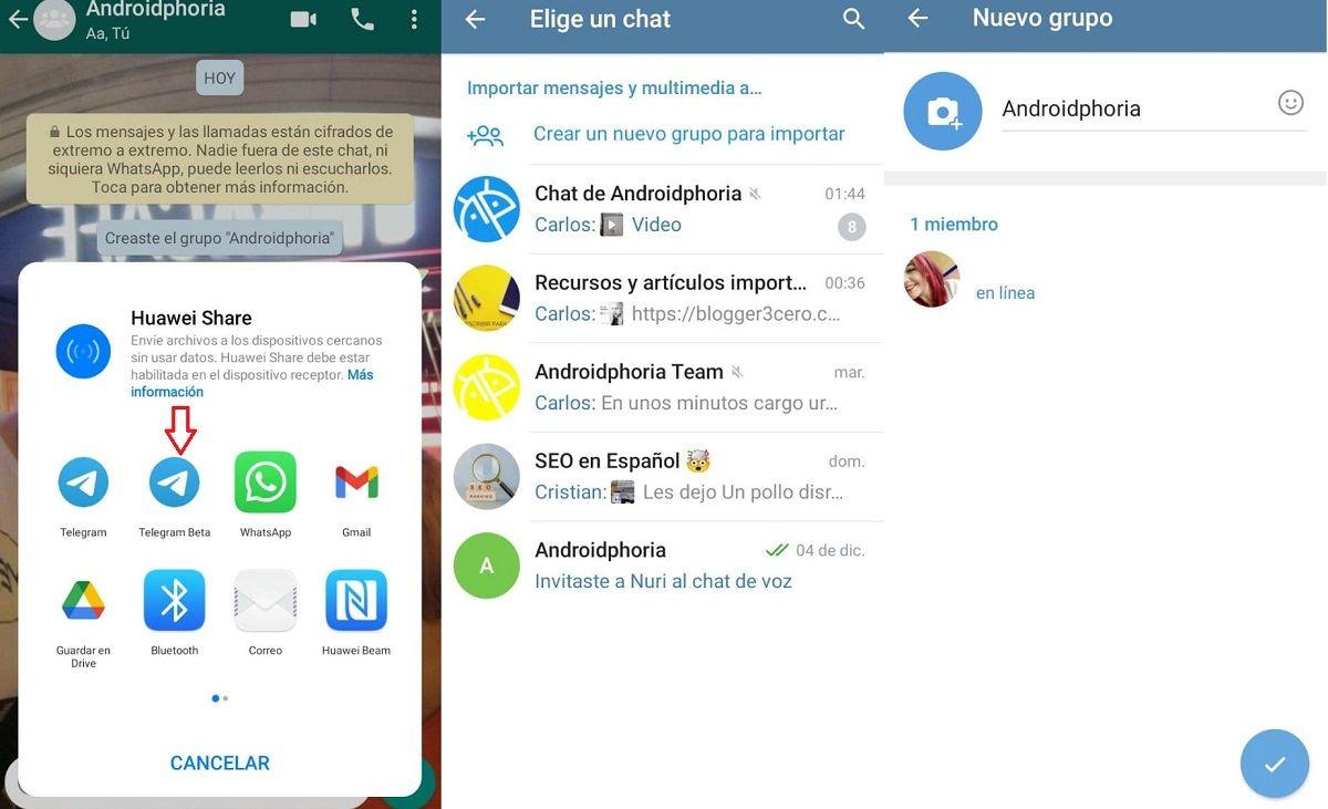 pasos exportar chats whatsapp telegram