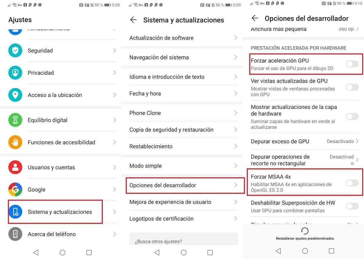 pasos forzar MSAA 4x en Android