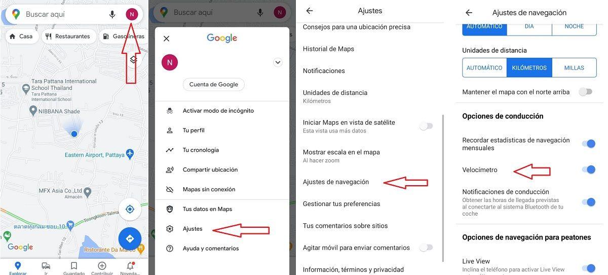pasos limite velocidad google maps