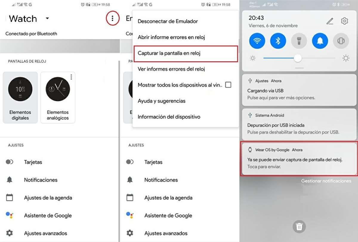 pasos para capturar pantalla en smartwatch con wear os