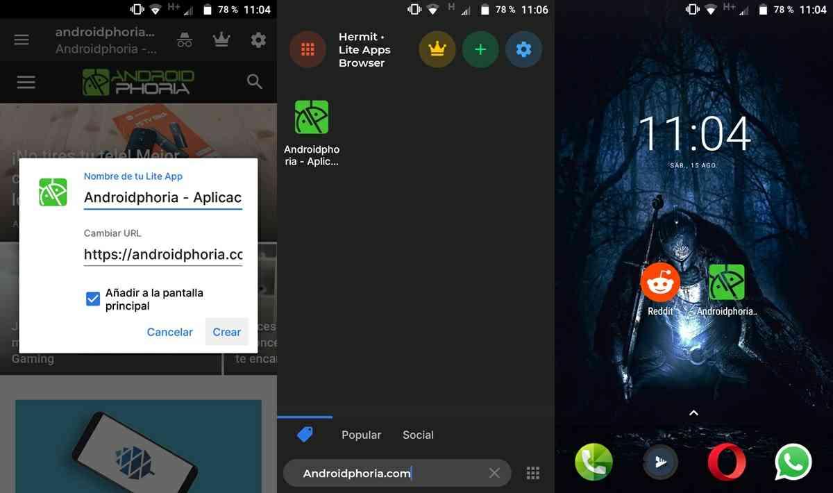 pasos para crear apps web en android con hermit 2