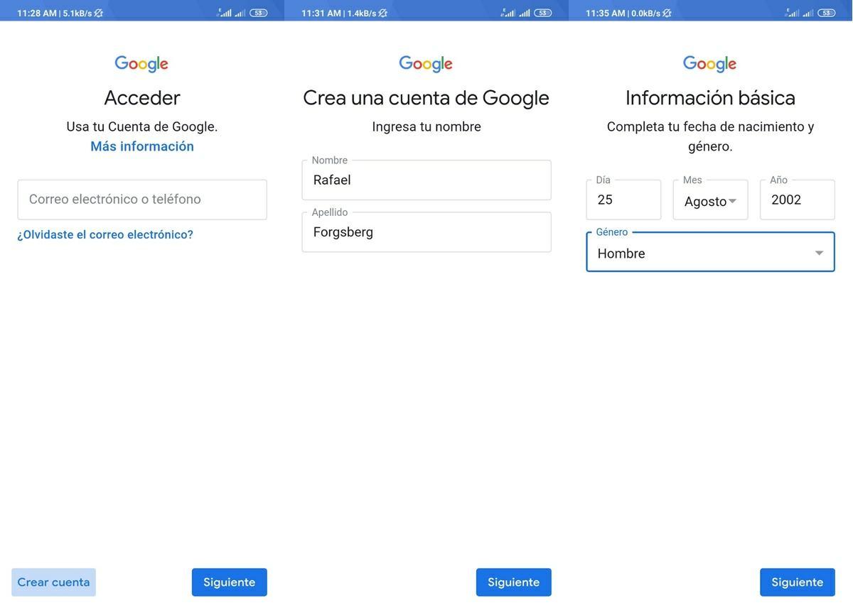 pasos para crear una nueva cuenta de google android 2