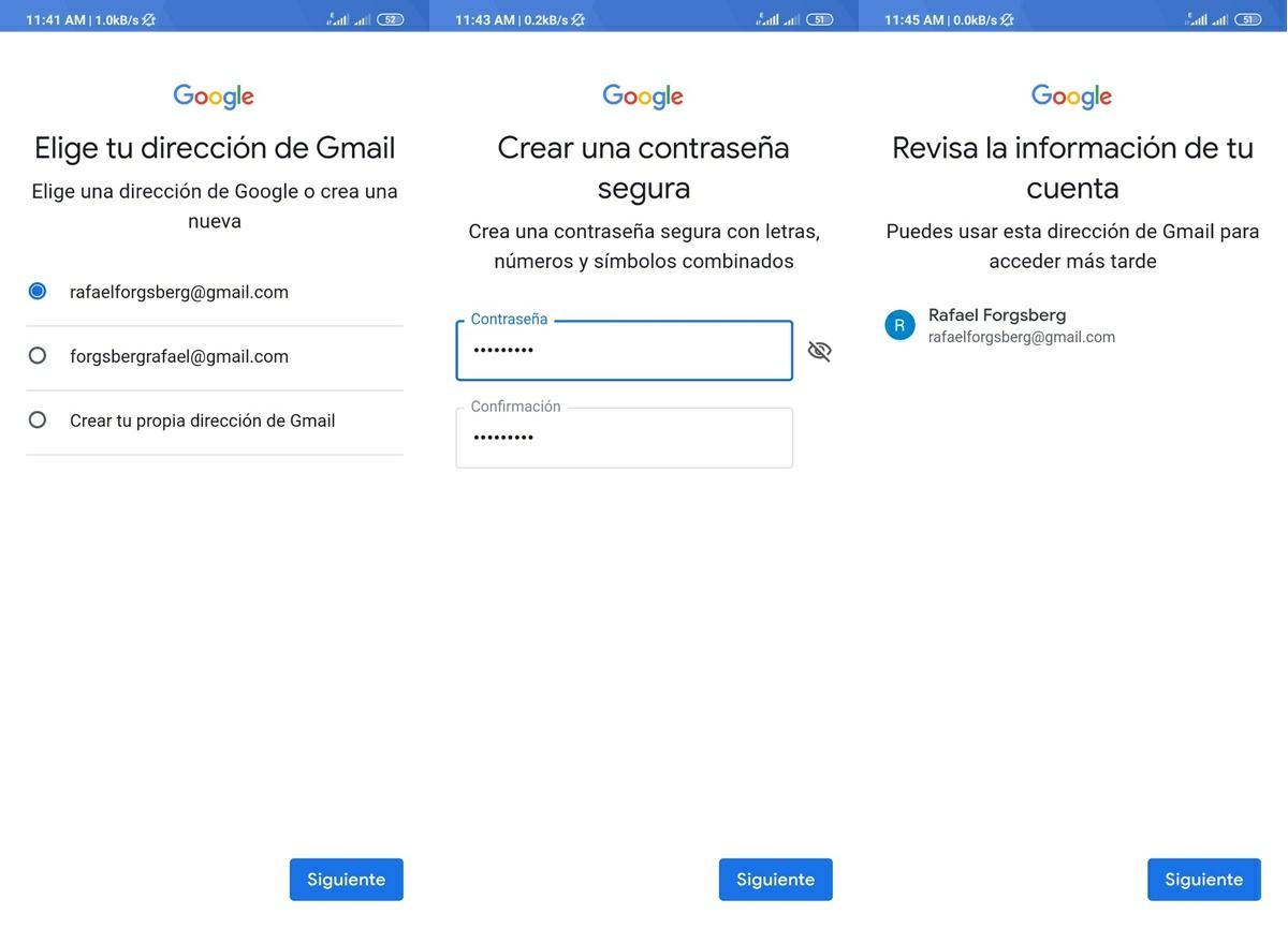 pasos para crear una nueva cuenta de google android 3