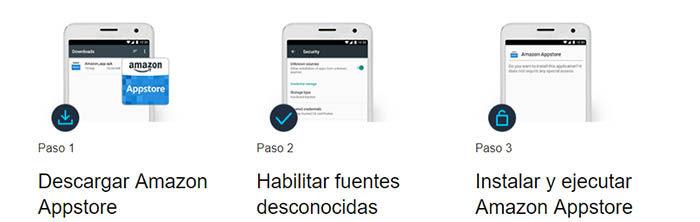 pasos para descargar e instalar Amazon Appstore