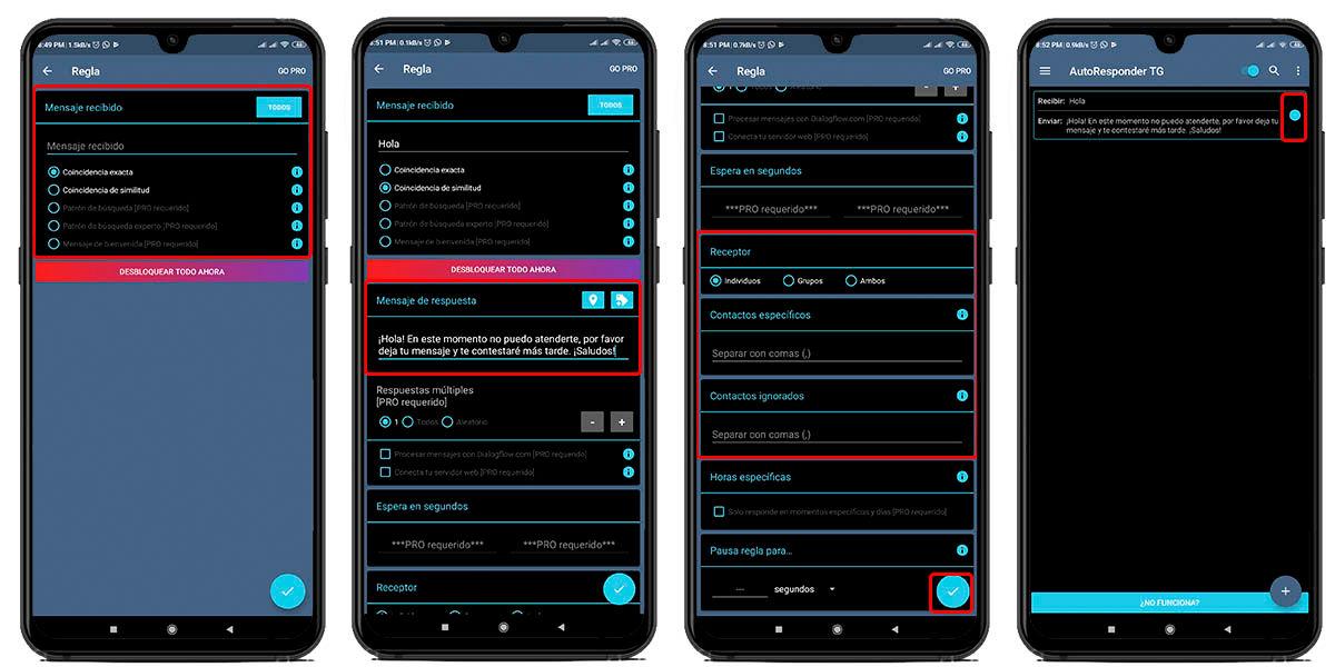 personalizar respuesta automática para Telegram con AutoResponder