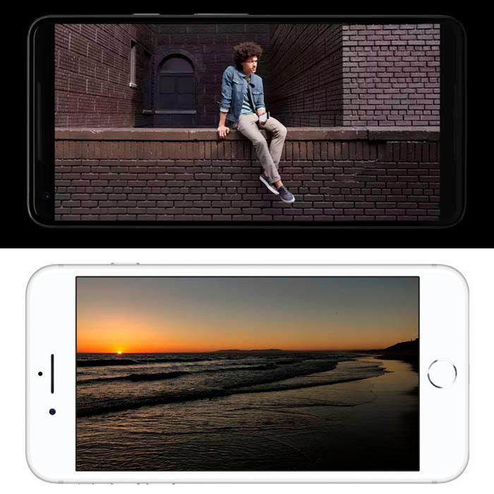 Pixel 2 XL vs iPhone 8 Plus pantalla