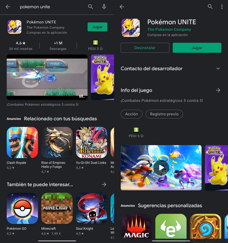 Pokémon UNITE descargar en Google Play