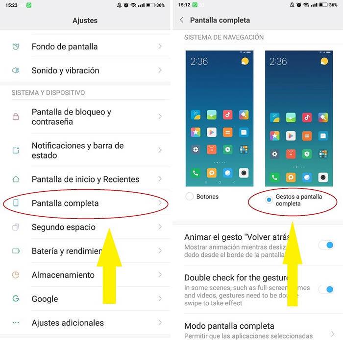 poner los gestos en el Xiaomi Redmi Note 5