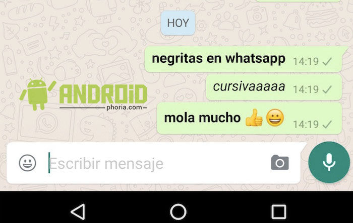 poner negritas y cursivas en whatsapp