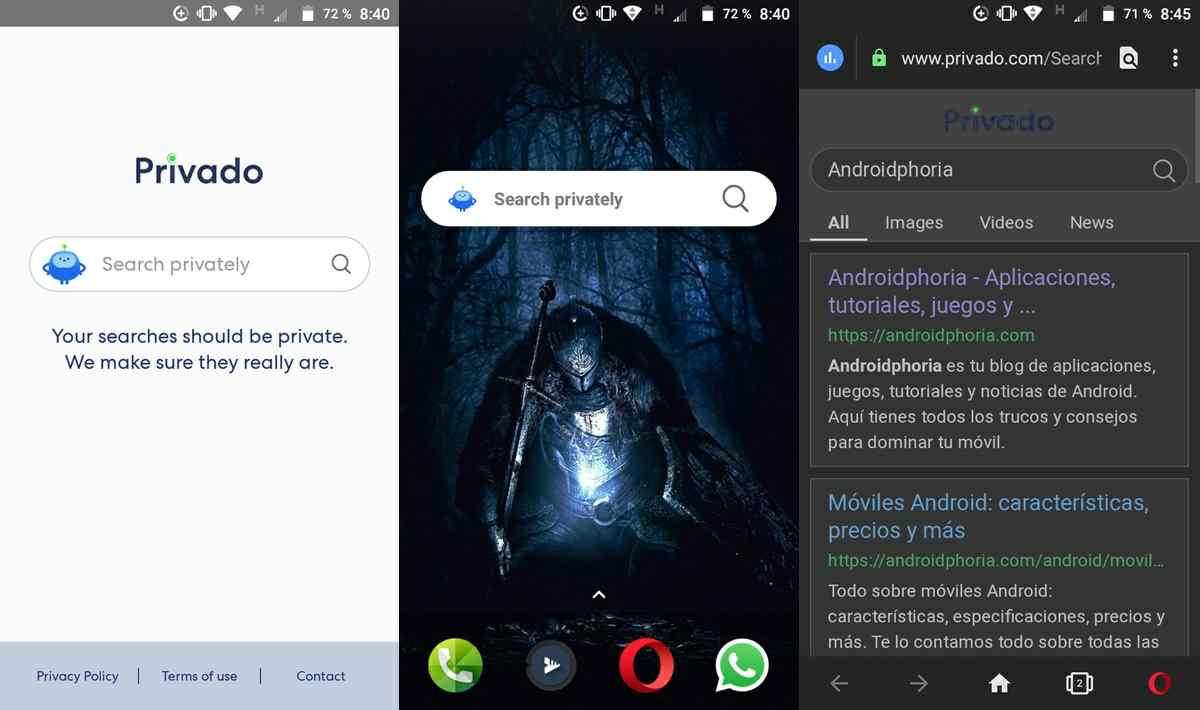 privado search aplicacion en android