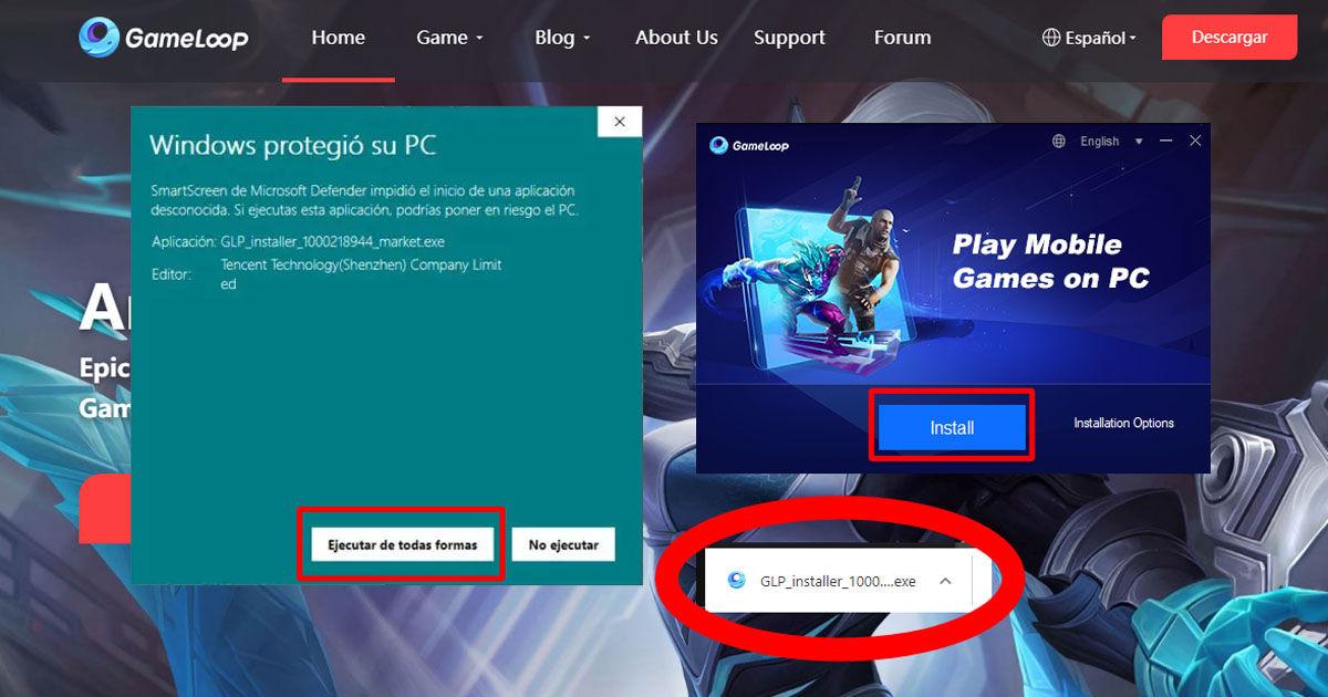 Proceso completo de descarga del emulador Gameloop en tu ordenador Windows