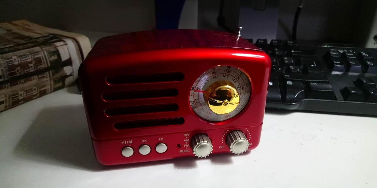 prunus j-160 altavoz bluetooth vintage retro con radio fm