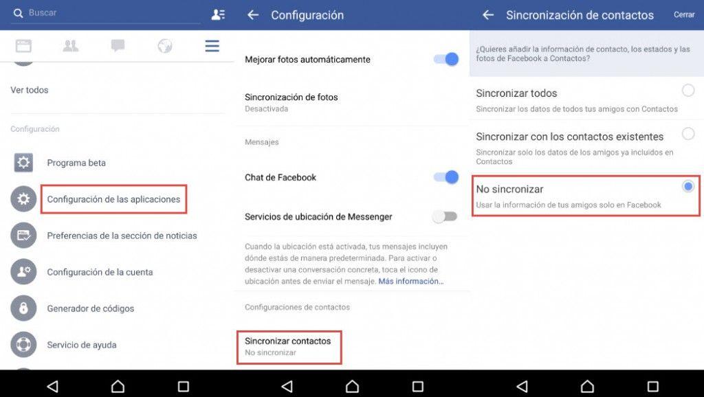 quitar contacto facebook android1