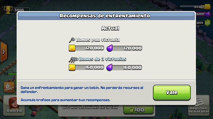 recompensa enfrentamientos clash of clans