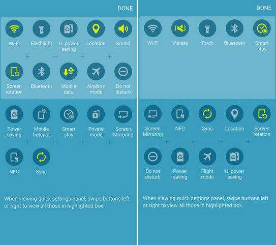 Ajustes rápidos con Android 5.1 (izquierda) y Ajustes rápidos con Android 5.1.1