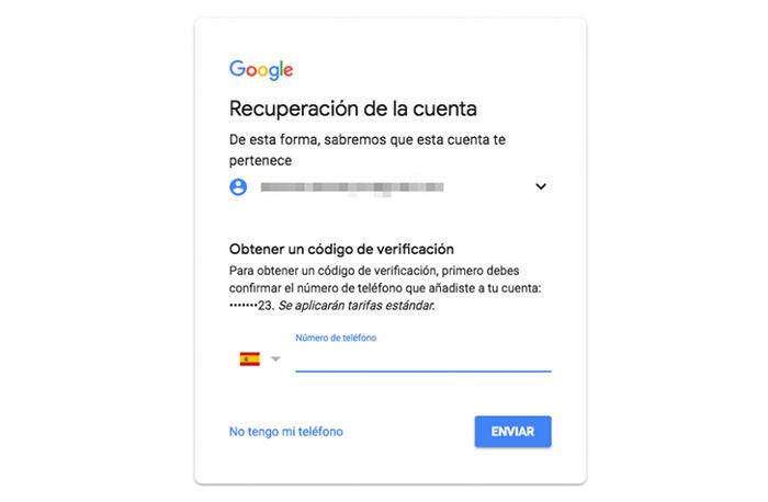 recuperar cuenta gmail sms
