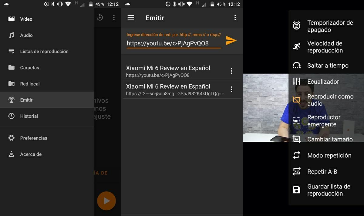reproducir como audio videos de youtube en vlc android manualmente