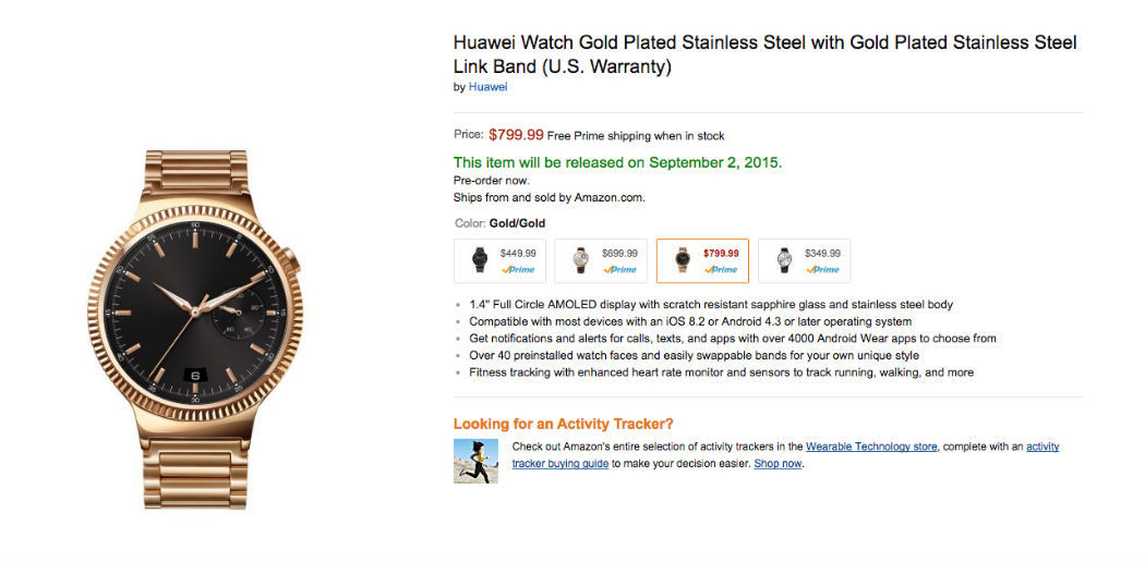 reservar huawei watch en amazon
