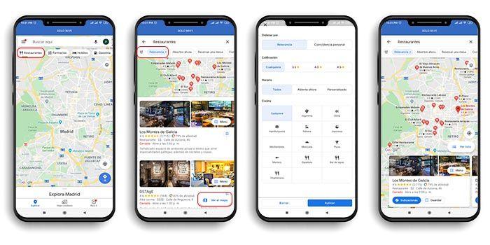 restaurantes cercanos Google Maps